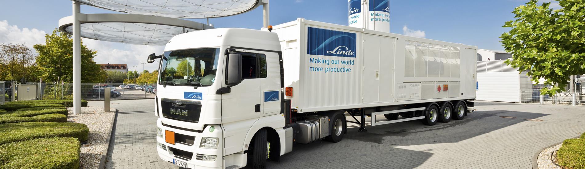 Linde Hydrogen trailer at Linde Hydrogen Center in Unterschleissheim, Germany