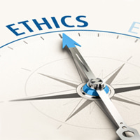 Compass containing the word Ethics