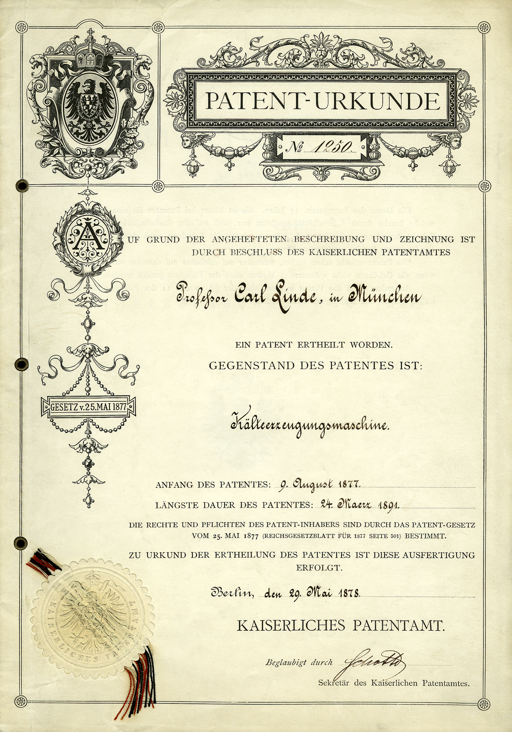 Patent certificate for refrigeration machine, Professor Carl von Linde 1877