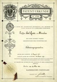 Patent certificate for refrigeration machine, Professor Carl von Linde 1877