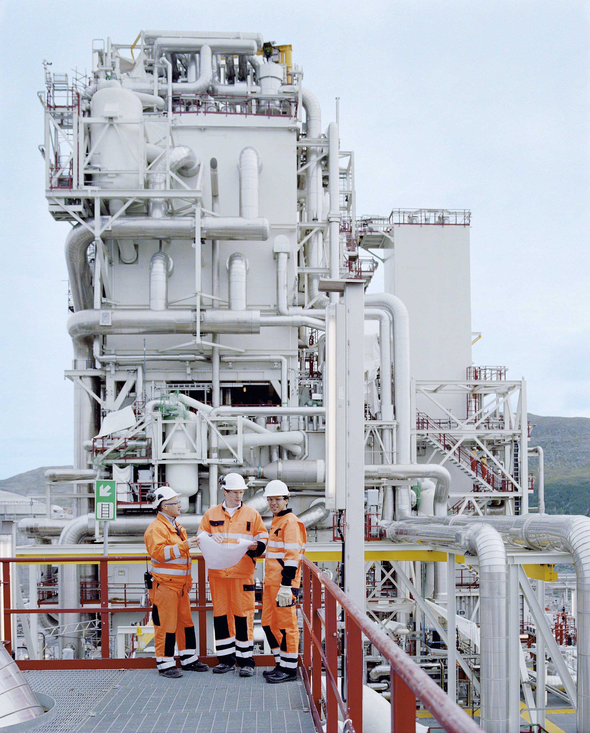 LNG: engineers at natural gas liquefaction plant near Hammerfest, Norway
