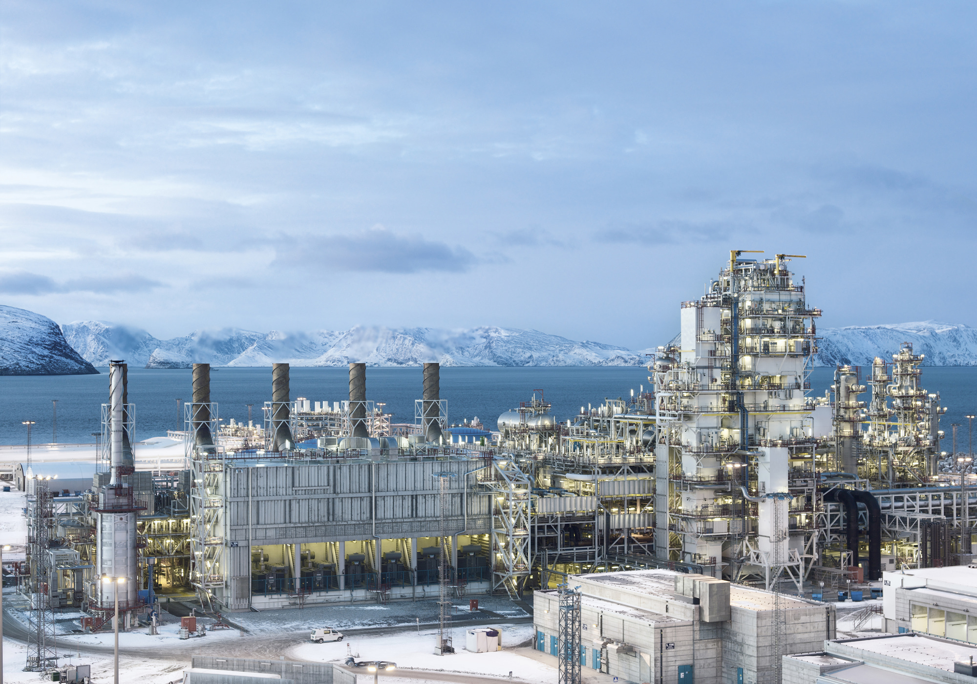 LNG: natural gas liquefaction plant on island Melkoya near Hammerfest, Norway