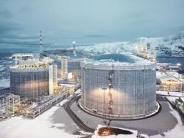 LNG plant on island Melkoya near Hammerfest, Norway - Light