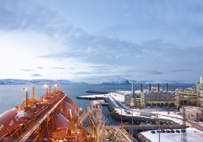 LNG tanker Arctic Princess at LNG plant Hammerfest, Norway